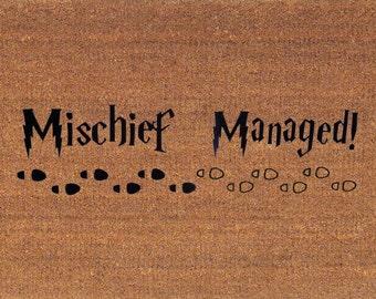 """Mischief Managed! - Harry Potter Door Mat - Coir Doormat Rug, 2' x 2' 11"""" (24 Inches x 35 Inches) - Welcome Mat - Housewarming Gift"""