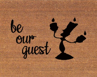 "Be Our Guest Beauty and the Beast Lumiere Disney Door Mat - Coir Doormat - 2' x 2' 11"" (24 x 35 Inches) - Welcome Mat - Housewarming Gift"