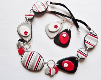Jewelry necklace set and stripes red, white, grey and black polymer earrings