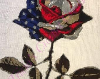 Rose Flag Afghan