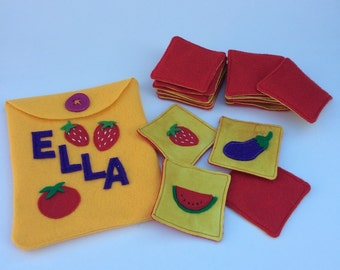 Fruits and Veggies Fabric/Felt Memory Game, Matching Game set Montessori inspired, Personalized Gift for Kids