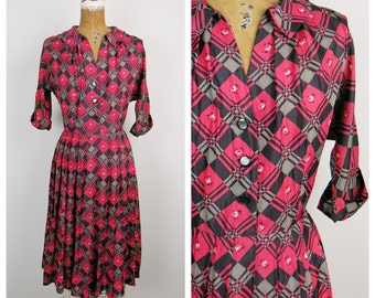 SALE Vintage 1950s Dress / 50s Plaid Floral Silk Shirtwaist Dress / Medium