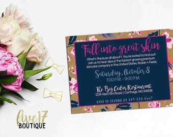 Rodan and Fields Invitation | Fall into great skin | Navy and Purple | Floral | Personalized | Digital