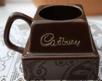 Vintage Collectable Square Cadburys Hot Chocolate Mug/Chocolate Chunk Cup