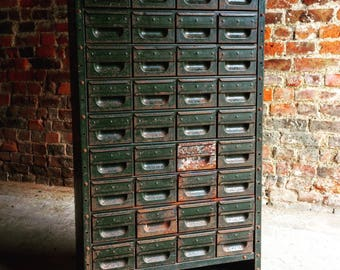 Fabulous Industrial Steel Chest Cabinet Mid Century 36 Drawers Loft Style Metal