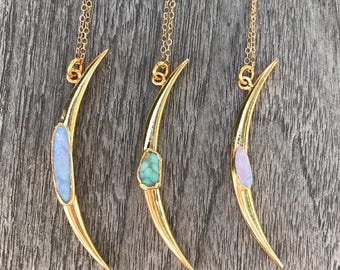 Moon Necklace // Gold Moon Necklace // Opal Moon Necklace // Opal Necklace