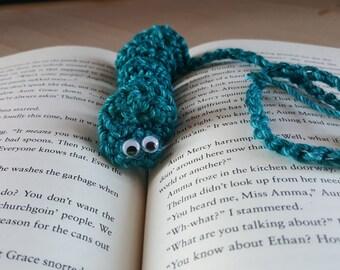 "blue with light blue specks book mark ""bookworm"""