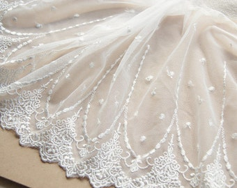 2 yards White Floral Lace Trim Embroidered Tulle Lace Trim 7.87 Inches Wide