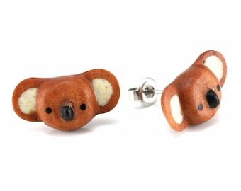 "Hand Carved- ""Koala Moji"" - Sabo Wood with Ebony Wood and Bone Inlay Stud Earring - Zoo Moji"