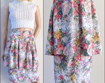 Pink floral peplum skirt Rene Derhy pretty pink roses summer skirt with peplum size medium