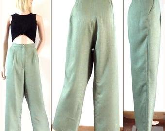 Green linen high waist trousers womens high waist wide leg trousers size 34 inch waist/86cms