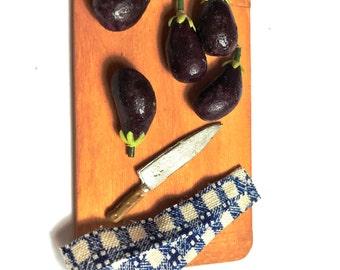 5 Artisan Eggplant ~ Miniature Food ~ Dolls House Miniatures