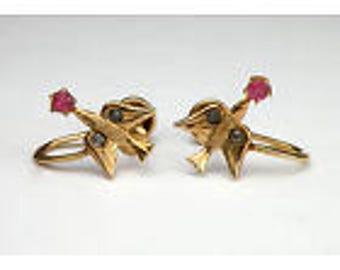 Gorgeous Antique Victorian 10k Gold Swallow Bird Screw Back Ruby Diamond Earrings