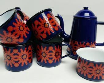 Vintage enamel coffee tea set