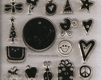 Close to My Heart My Acrylix Clear Stamp Set: B1019 Celebrations – Solid.  Never Used. Cling Stamps.