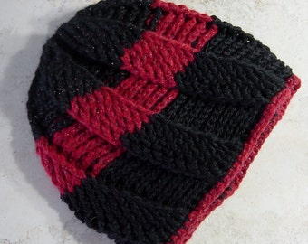 Red & Black Crochet Cloche Hat, Slouch Cloche Hat, Boho, Crcohet Winter Hat, Gift for Her, Black Cloche, Red, Stripe Hat, Adult Size Hat