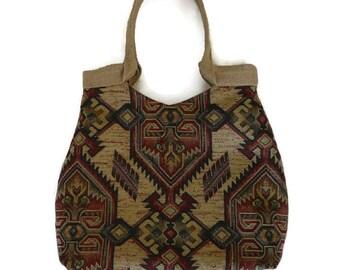 Tapestry tote bag, carpet bag, trendy shoulder bag, vinyage bag,  tote bag, vintage look, bohemian style tapestry handbag, roomy tote,