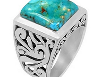RING man TURQUOISE Knight turquoise gem stone natural silver vk69 protection