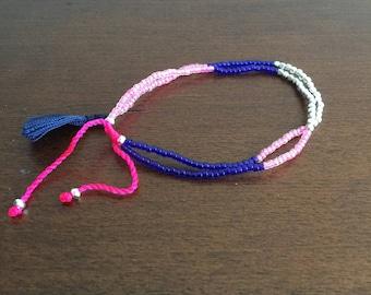 Pink Silver Purple Multicolor Boho Seed glass bead bracelets adjustable string bracelet Handmade thread bracelet strand bracelet tassel