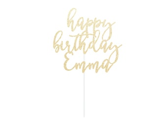 Custom Happy Birthday Cake Topper - Name Cake Topper - Any Color Glitter