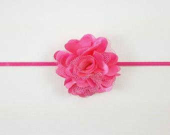 Baby Headband/ Pink Headband/ Pink Baby Headband/ Baby Headband Pink/ Newborn Headband/ Pink Flower Headband/ Flower Headband Pink
