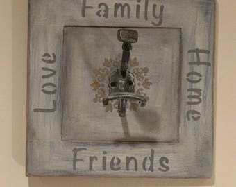 Coat Hook - Family, Home, Love, Friends - Made from Recycled Cabinet Door and a Vintage Coat Hook - Wall Hanging - Art