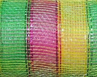 21 inch Yellow Lime Pink Stripe Metallic Deco Poly Mesh,  Easter Deco Mesh, Spring Stripe Metallic Deco Poly Mesh Wreath Supplies (10 Yards)