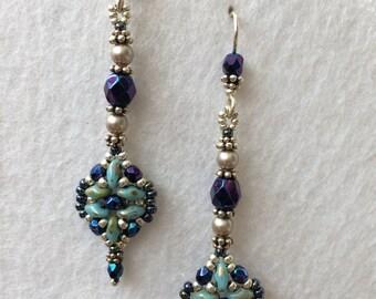 Blue Crystal and Pearl Beaded Earrings