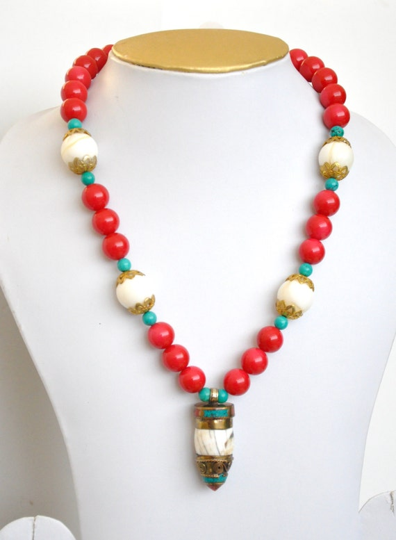 Semi-precious quartz stone antique ethnic design necklace eith red, turquoise and white stones   Indian necklace  Indian Jewelery  