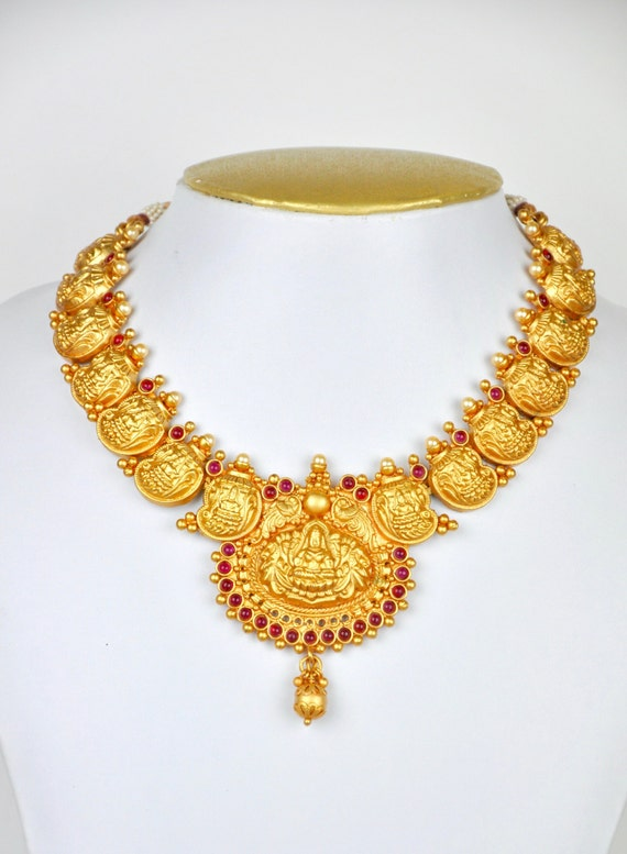 Antique matt gold design Indian lakshmi temple kemp necklace  with earrings  | Indian Jewellery | Indian Necklace | Temple Jewelry
