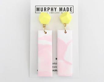 Yellow & Pink Dangle Earrings