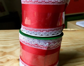 2 red satin wired ribbon rolls with lace edging