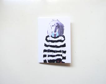 Afghan Hound in Comme De Garcons  The City Belongs to Us Notecard, Greeting Card, Pets, Birthday, Thank you, Housewarming, Holiday