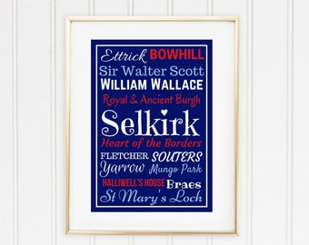 Selkirk, Scottish Borders. Typography print.  Typographic print. Typographic wall art