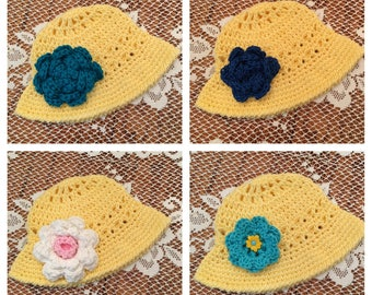 Crochet baby Sun Hat with flower
