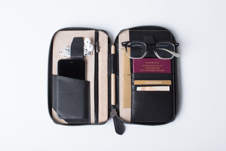 Leather Travel Wallet Xs Black Passport Holder Folio