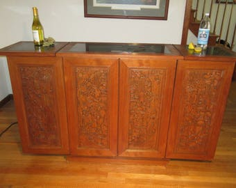 Asian Carved Expandable Bar Liquor Cabinet George Zee Style w/Inlaid Marble Top ~ *FREE SHIPPING*