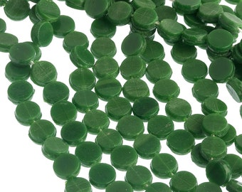 Antique Bohemian opaque green glass nailhead sequin beads 5mm. Strand of 22-23. B11-GR-0595(e)