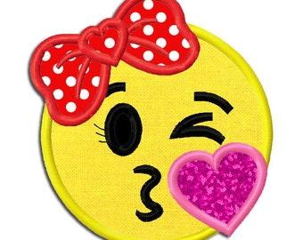 Emoji Girl Kiss Embroidery Applique Design dst, exp, hus, jef, pes, sew, vip, vp3, Digital INSTANT DOWNLOAD