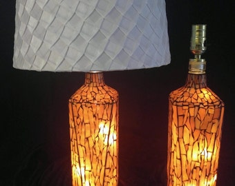 A pair of handcrafted stained glass mosaic lamp bases in earthtone browns.  Independently lit base.  AMAZING