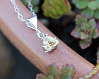 Delicate Trillion Cut Citrine Gemstone in Sterling Silver Setting - November Birthstone , Yellow Jewel , The Success / Merchant Stone