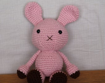 Handmade Pink Baby Amigurumi Crochet Bunny