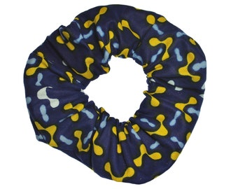 African Print Scrunchies Blue Yellow Ponytail Holder (Free Shipping) Hair Accessories Made in USA