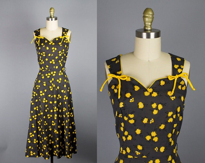 1950s floral cotton dress/ 50s yellow sundress/  small/ medium