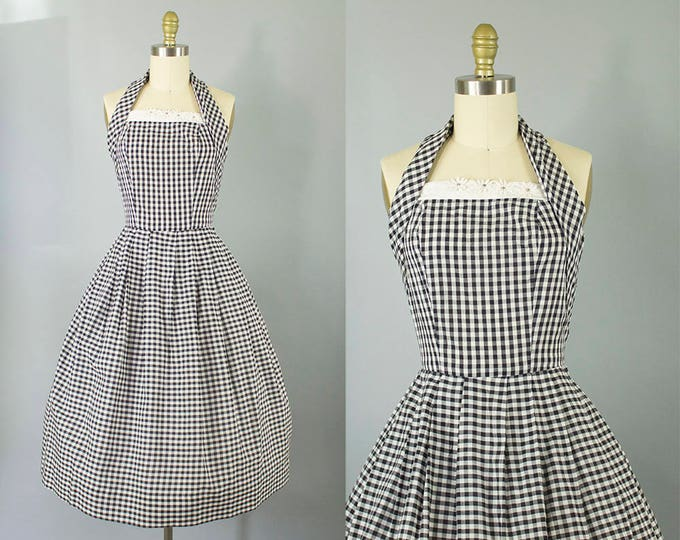 1950s gingham cotton sundress/ 50s black and white halter with floral detail/ medium