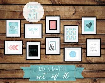 Printable Wall Art Set Bundle Aqua Coral Printable Set of 10 Large Set Wall Art DIY Gallery Wall Mix Match Pink Blue Salmon Turquoise Art