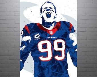 JJ Watt Houston Texans Poster Sports Art Print, Football Poster, Kids Decor, Watercolor Contemporary Abstract Drawing Print, Modern Art