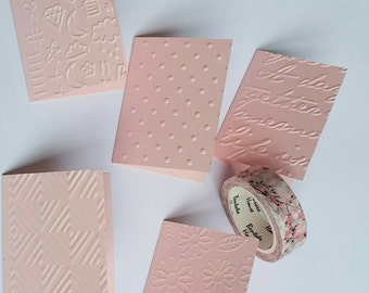 Embossed set of 5 mini cards. Lunch box cards. Tag cards. Thank you cards. Love cards. Pink