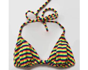 30% 0ff sALe Vintage 90's Neon Stripe Bikini Swimsuit Top