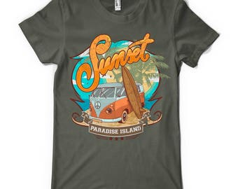 Sunset Paradise Island T-Shirt - Volkswagen Peace